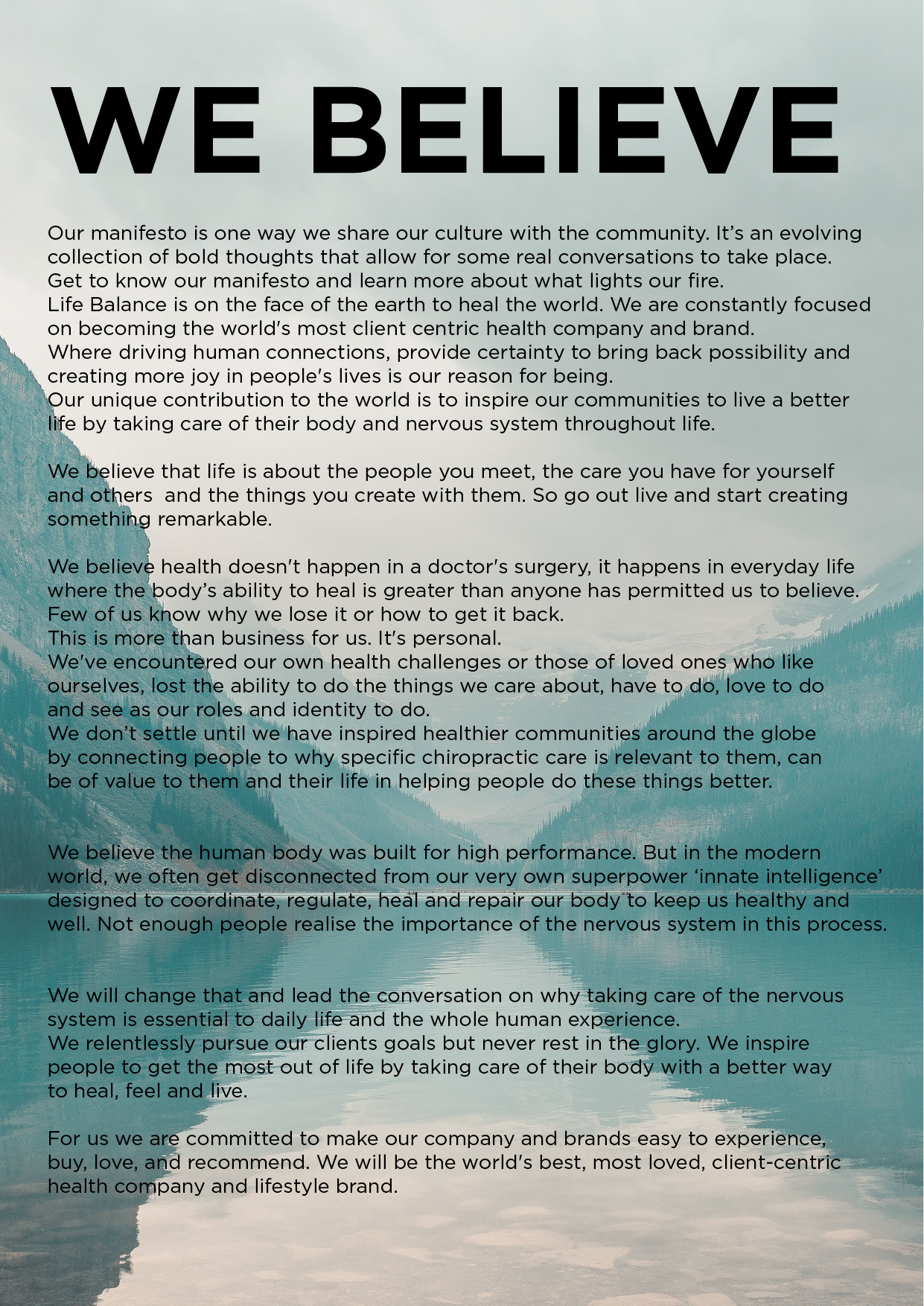 Life Balance Chiropractic Manifesto